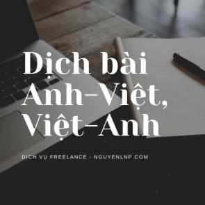 Freelancer dịch bài Anh-Việt, Việt-Anh - Nguyen LNP - nguyenlnp.com
