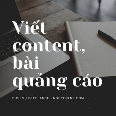 Freelancer viết content, viết bài quảng cáo trên các trang mạng xã hội, bộ máy tìm kiếm